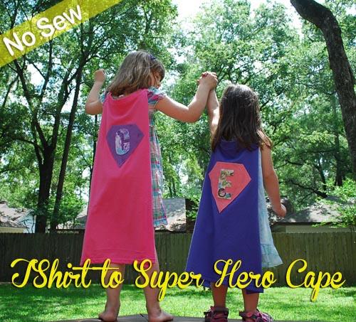 Girls wearing no-sew superhero capes